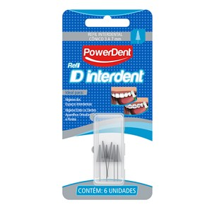 ESCOVA INTERDENTAL POWER DENT CÔNICO REFIL 6 UNIDADES