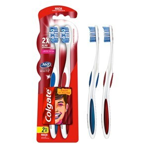 ESCOVA DENTAL COLGATE LUMINOUS WHITE 360 2 UNIDADES